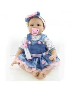 "22"" Beautiful Simulation Baby Girl Reborn Baby Doll in Skirt"