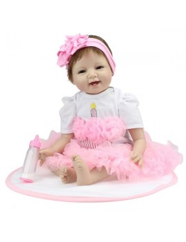 Pink Princess Skirt Fashionable Play House Toy Lovely Simulation Baby Doll with Clothes Size 22""