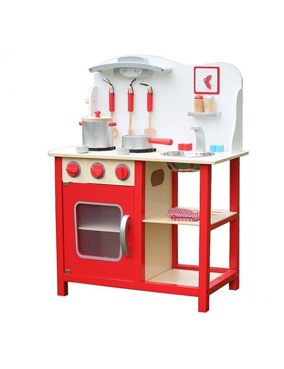[US-W]Wood Kitchen Toy Kids Cooking Pretend Play Set with Kitchenware and Clock Red