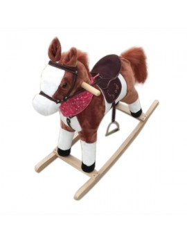 Kids Plush Ride On Pony Rocking Horse Wooden Toy with Neigh Sound Dark Brown