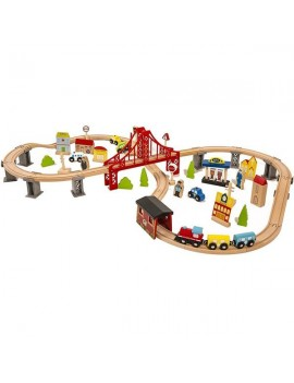 70pcs Wooden Train Set Learning Toy Kids Children Fun Road Crossing Track Railway Play Multicolor