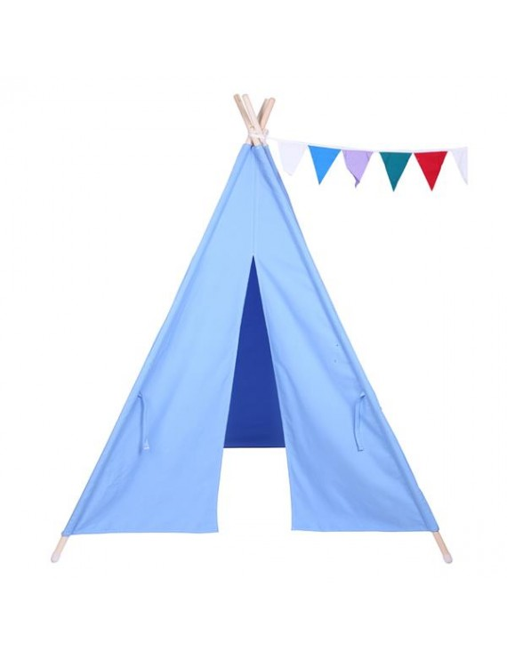 [US-W]Indian Tent Children Teepee Tent Baby Indoor Dollhouse with Small Coloured Flags roller shade and pocket Blue